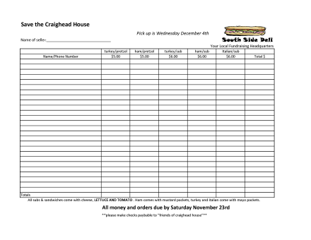 sandwich fundraising sheet- Craighead House
