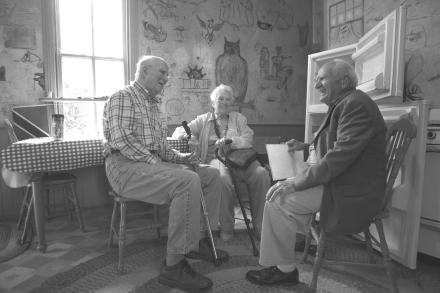 Friends since childhood David Masland, Jean Craighead George & Bill Craighead chat in Craighead House kitchen in 2011. Courtesy Charlie Craighead.